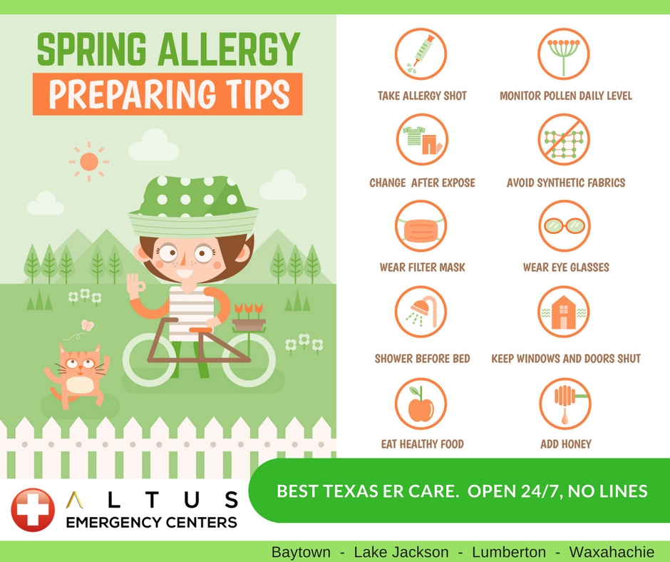 spring allergy preparation tips Altus ER Centers Texas