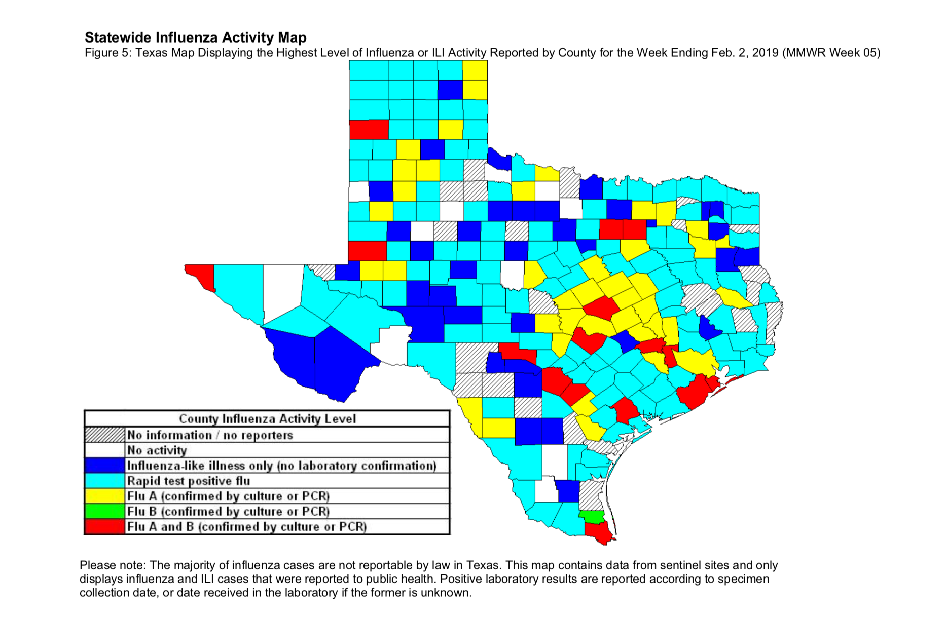 Texas influenza map week 5 - 2019